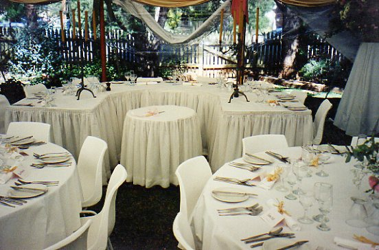 Horse shoe setting with cake table at the front