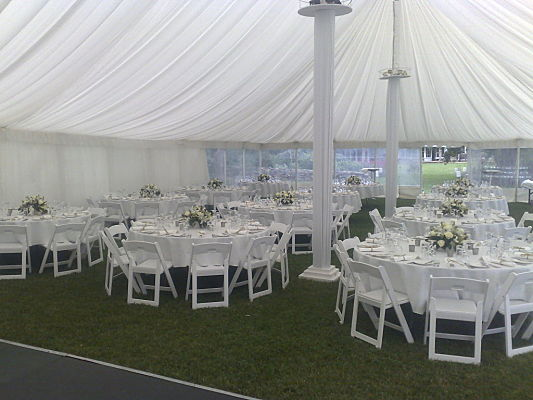 12 metre Interior with silk linings and round tables